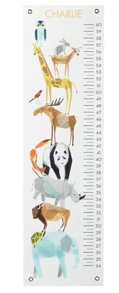 Shop Animal Friends Growth Chart.  This gravity-defying animal growth chart spotlights your little one's favorite friends straight from the zoo.  Shop for kids growth charts online.