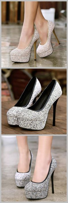 Round-Toe Sequin Decorated Platform Heels #platformheels #tbdressreviews #beauty #highheels