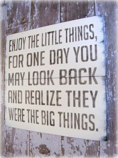 Enjoy The Little Things- Antiqued Plank Typography Sign- Linen White