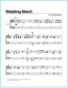 Wedding March (Mendelssohn) | Printable Sheet Music for Piano http://wavemusicstudio.com/free-sheet-music/wedding-march-piano-sheet-music.php