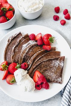 Easy Homemade Chocolate Crepes - An image of stacked chocolate crepes on a plate with fresh strawberries and raspberries for filling - Chocolate Crepes, Delicious Chocolate, Homemade Chocolate, Think Food, Love Food, Mexican Food Recipes, Dessert Recipes, Crepe Recipes, Pancake Recipes