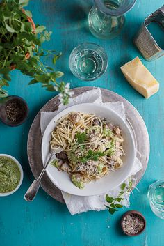 Simple creamy chicken and mushroom pasta with bright, flavourful basil pesto is the perfect easy weeknight dinner. /