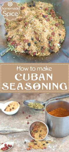 Add a Latin kick to Your Meals by Using this Homemade Cuban. Add a Latin kick to Your Meals by Using this Homemade Cuban Seasoning. Its Quick Easy and Has A Long Shelf Life. The Annatto Seeds are the Perfect Base for this Spice. Homemade Spices, Homemade Seasonings, Homemade Recipe, How To Make Spice, Cuban Recipes, Jamaican Recipes, Rib Recipes, Fast Recipes, Family Recipes