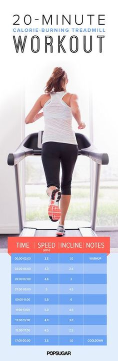 20-Minute Treadmill Workout If you're looking for a workout that will blast calories in no time at all, check out this 20-minute treadmill workout that's great for when you're short on time. Best Pinterest Workouts of 2014 | POPSUGAR Fitness