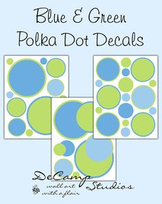 Blue and Green Polka Dot circles wall decals for baby boy nursery or children's room decor #decampstudios