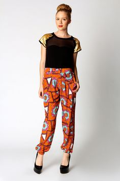 Carly Elastic Cuff Scarf Print Trousers