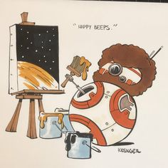 Bring the elegance and beauty of the galaxy to your very home with these one of a kind Star Wars paintings! Star Wars Fan Art, Star Wars Meme, Lego Star Wars, Bob Ross, Cadeau Star Wars, Cartoon Network, Star Wars Painting, War Comics, Star Wars Comics