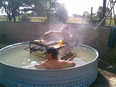 This has got to be a Redneck BBQ Pool Party.