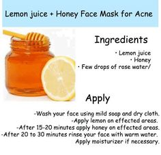 Reduce acne and pimple with Lemon Honey face mask #Skin #Acne #Beauty #Skincare
