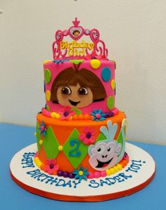 Colorful Dora and Boots Cake