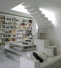I want a library, but not all white! Add some color!