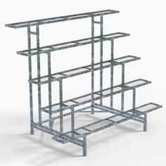Square Display - Special order only - VRE Systems Plant Shelves Outdoor, Outdoor Metal Plant Stands, Garden Shelves, Garden Rack, Garden Stand, House Plants Decor, Plant Decor, Greenhouse Benches, Greenhouse Shelves