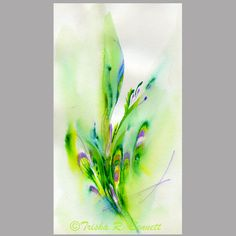 Original Abstract Watercolor Doodle Painting - Green Feathers. $25.00, via Etsy.