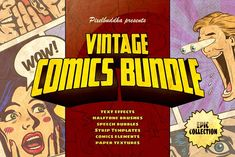 Marvelous Vintage Comics Bundle by Pixelbuddha on @creativemarket