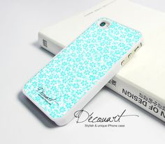 iPhone 4 case, iPhone 4s case, case for iPhone 4, mint teal floral pattern W221