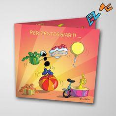 Biglietto musicale Auguri (FV07-04)   Le Formiche di Fabio Vettori #formiche #fabiovettori #biglietto #auguri #musica #music #fun #regalo #gift #torta #festa