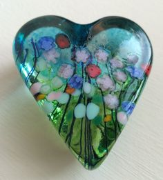 ROBERT HELD Art Glass Heart Shaped Multicolored Floral Flowers Paperweight~NWT!