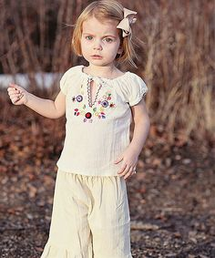 Little Cotton Dress Beige Betty Peasant Top & Ruffle Pants - Infant, Toddler & Girls #zulily #ad *sweet