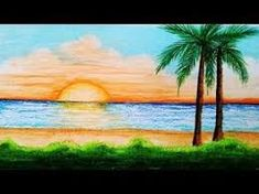 Very easy drawing Scenery of sea beach step by step.I use CROWN Oil Pastel & Tissue. Landscape Drawing For Kids, Drawing Scenery, Art Drawings For Kids, Landscape Drawings, Cool Landscapes, Easy Drawings, Oil Pastel Paintings, Oil Pastel Drawings, Oil Pastel Art