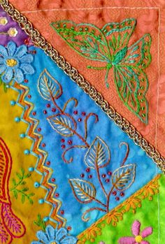 Crazy Quilting, Crazy Quilt Stitches, Crazy Quilt Blocks, Quilting Ideas, Quilting Templates, Hand Embroidery Stitches, Ribbon Embroidery, Embroidery Patterns, Machine Embroidery