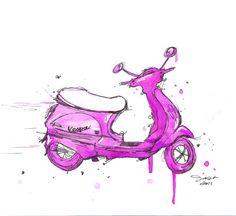 The Pink Vespa, #vespa #painting #pink