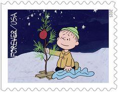Linus decorating Christmas tree U.S. Postal Service Forever stamp