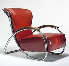 U.S. LC-52 lounge chair, c. 1930 Lloyd Manufacturing Co.  chrome-plated steel, vinyl, walnut