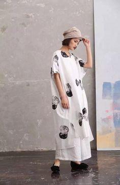 White ink loose long cotton linen big size fashion dress