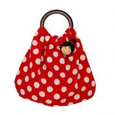 Un sac espagnol rouge à pois blancs
