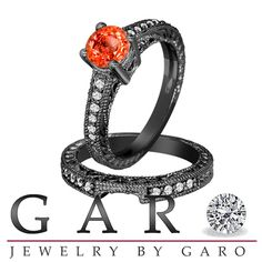 Orange Sapphire and Diamonds Engagement Ring and Wedding Band Sets 14K Black Gold 1.01 Carat Antique Vintage Style Engraved