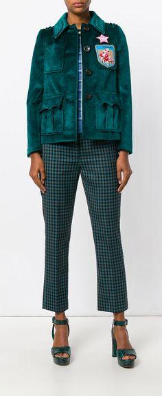 Miu Miu velvet sahariana jacket, explore Miu Miu on Farfetch now.