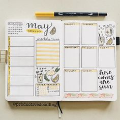 weekly spreads 4 & 5!!🌞🍋 so for the final two weeks of May, I decided to save some paper and create one page weekly spreads!📚 since it's…