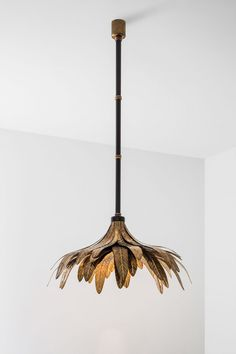 LAMPADA 048DIMORESTUDIO, PROGETTO NON FINITO2015Ceiling lamp in matte black painted metal and oxidised brass detailing.Handcrafted decorative leaves in oxidised brass.∅76 xh.200cm