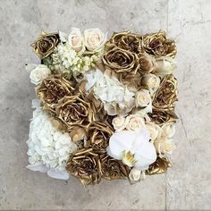 Vienna is quite the favourite amongst you all and we're thrilled! This version had strands of jasmine added to it with all the usual suspects, speckled white and gold hydrangeas, cream and gold roses, and white phalaenopsis orchid blooms, someone is getting married! #Vienna #bloombox #maisondesroses #love #weddings #white #gold #roses #hydrangeas #phalaenopsis #orchids #jasmine