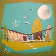 El Gato Gomez Painting Retro 1950s Sci Fi Space SHIP House Mid ...