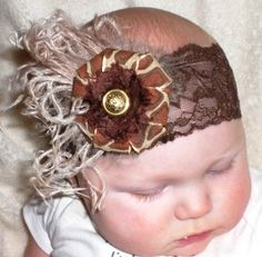 Baby girl vintage headband with curly ostrich feathers, Vintage button, Giraffe print flower. Leopard headband. Giraffe headband  http://www.etsy.com/listing/116417160/chocolate-brown-lace-headband-with?ref=v1_other_2