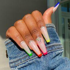 Rainbow Nails, Neon Nails, Matte Nails, Gel Tips, French Tip Nails, Nail Set, Long Acrylic Nails, Nail File, Acrylic Nail Designs