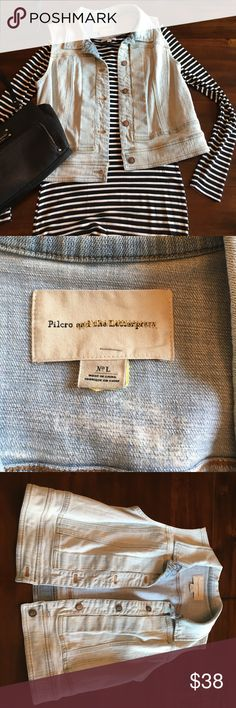 Anthropologie Pilcro and the Letterpress vest Lrg Anthropologie Pilcro and the Letterpress denim vest size Large. Worn just a few times and then dry cleaned. Still in excellent condition and perfect for layering. Anthropologie Jackets & Coats Vests
