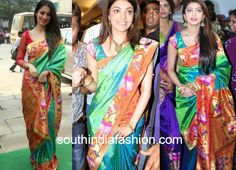www.southindiafashion.com wp-content uploads 2015 09 Lakshmi-Rai-Kajal-and-Pranitha-in-Paithani-Silk-Sarees.jpg
