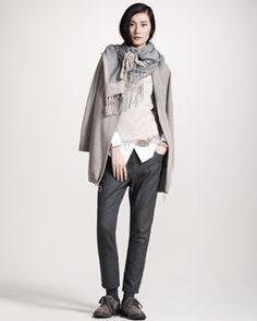 -3SLC Brunello Cucinelli Cashmere Cardigan Jacket, Metallic-Knit Turtleneck, Canvas-Detail Poplin Shirt & Flannel Cigarette Pants