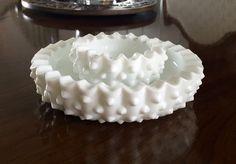 Vintage Fenton Hobnail Milk Glass Ashtrays or Nesting Dishes by TheShoppeOnCoventry on Etsy https://www.etsy.com/listing/278602382/vintage-fenton-hobnail-milk-glass