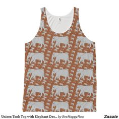 Unisex Tank Top with Elephant Design All-Over Print Tank Top