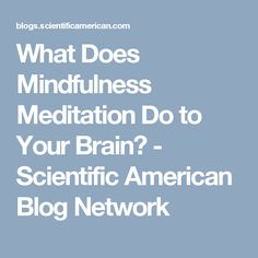 What Does Mindfulness Meditation Do to Your Brain? Mindfulness Activities, Mindfulness Meditation, Scientific American, Yoga For Kids, Your Brain, Classroom Organization, Activities For Kids, Blog, Health