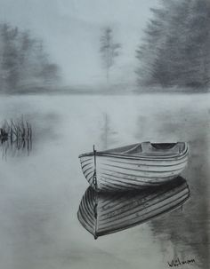Misty row boat, reflection in graphite. - drawings - Misty row boat, reflection in graphite. Pencil Art Drawings, Art Drawings Sketches, Cool Drawings, Landscape Sketch, Landscape Drawings, Landscape Drawing Tutorial, 3d Pencil Sketches, Pencil Sketching, Pencil Shading