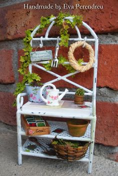 shabby chic miniature potting bench for your garden dollhouse