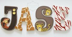 Lambs and Ivy Safari Express Themed Wooden Letters por KraftinMommy Wooden Letters For Nursery, Painting Wooden Letters, Baby Letters, Painted Letters, Hand Painted, Letter Door Hangers, Door Letters, Letter Wall, Letters And Numbers