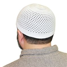 White Cotton Blend Knitted Kufi Muslim Prayer Mens Skull Cap Islamic Hat Topi - 18 to 19 inch
