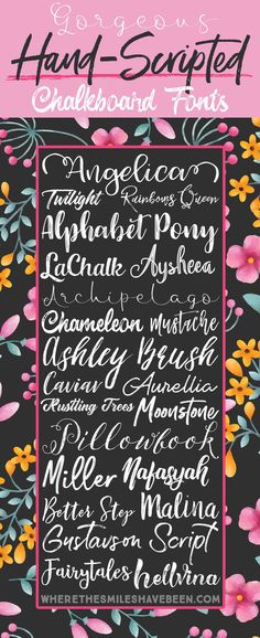 These would be great for chalkboard posters or print & cut projects in Silhouette Studio! Here's a collection of some GORGEOUS hand-scripted chalkboard fonts! | Where The Smiles Have Been