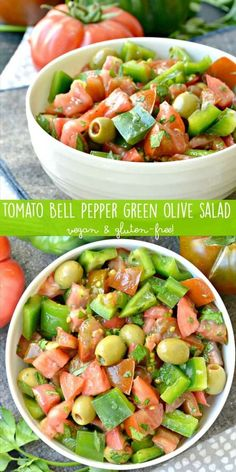 Tomato Bell Pepper Green Olive Salad utilizes the best of summer produce in this easy healthy vegan and gluten-free dish!