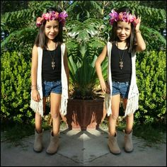Fashion girls #kidsfashion #kidchella #ankleboots #cowgirloutfit #summeroutfit #armcandy #flowercrown